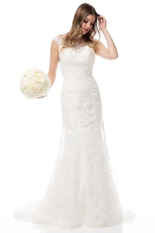 Full Lace Crystal Mermaid Wedding Gown w. Train