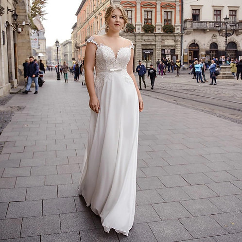 Lace Trim Illusion Top Sweetheart Plus Size Ball Gown