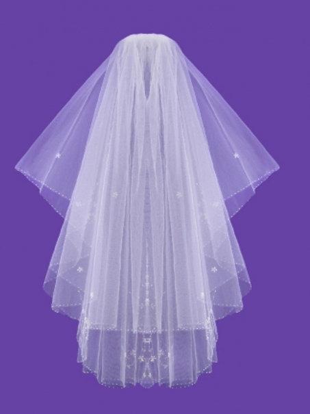 Veil V0016 Embroidered Sequin Beaded