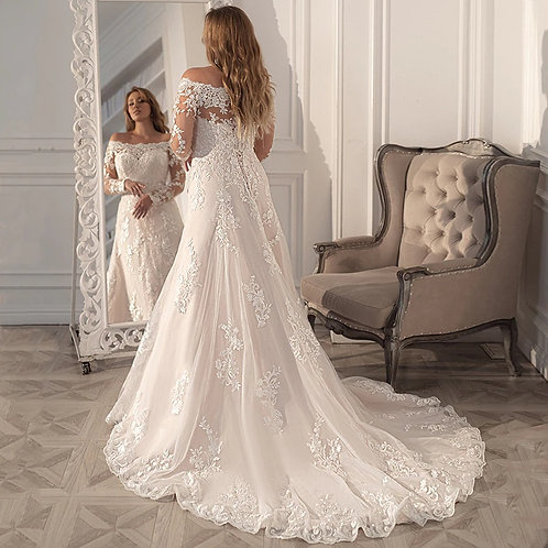 Off the Shoulder Lace Embellished Long Sleeve Plus Size Wedding Gown