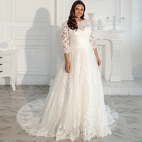 """Lace 3/4"""" Sleeve Sweetheart Plus Size Ball Gown"""