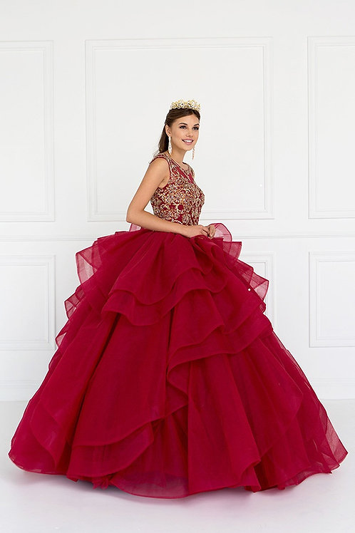 Lace Beaded Illusion Large Ruffle Quinceanera Gown