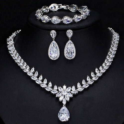 3 Piece Tear Drop Cubic Sterling Bridal Set