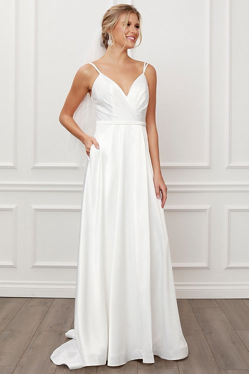 Spaghetti Strap[ Sweetheart Ruched Wedding Gown