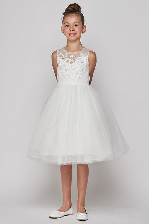 Shore Ruffle Tulle Floral Embellished Flower Girls Dress by Cinderella