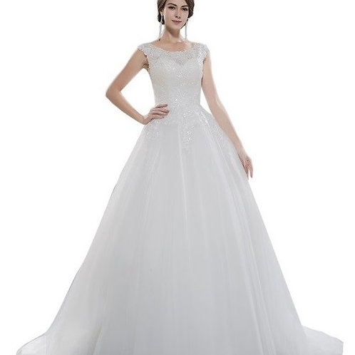 Illusion Top Sweetheart Neckline Lace Ball Wedding Gown