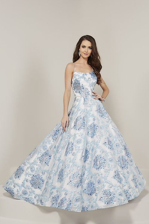 16340 Tiffany - All Over Floral Print Spaghetti Strap Prom Dress