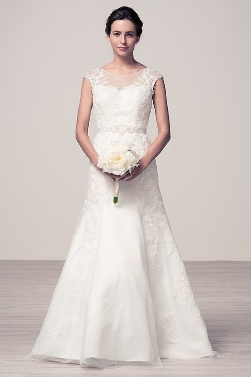 Sweetheart Illusion Lace A-Line Wedding Ball Gown
