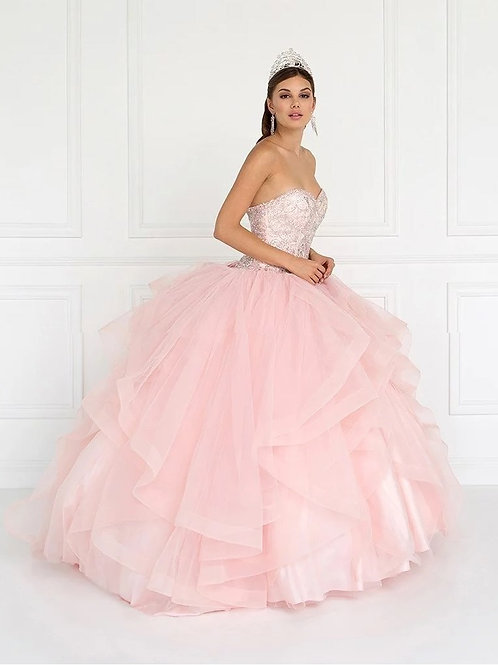 Beautiful Sweetheart Crystal Beaded Organza Quinceanera Gown