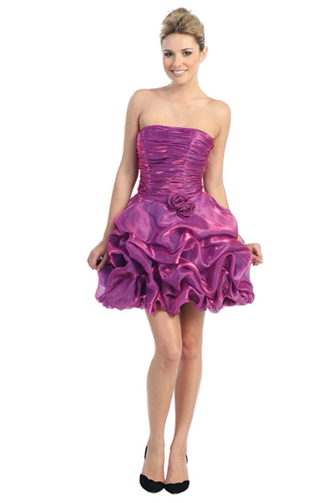 Ruched Organza Pleated Straight Neckline Short Pick-up Prom Dress