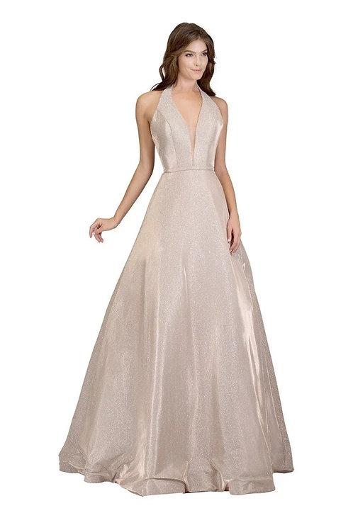 A-Line Halter Top Deep V-Neck Shimmering Prom Dress