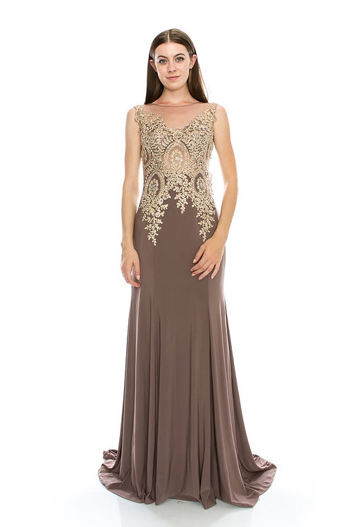 Heavy Embroidery Lace Embellished Mother of Bride Dress
