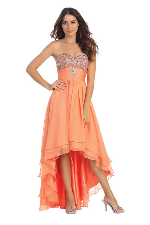 Strapless Sweetheart Shimmering Rhinestone High-Low Prom Dress