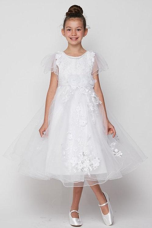 3D Adorn T-Length Flower Girls Dress  by Cinderella