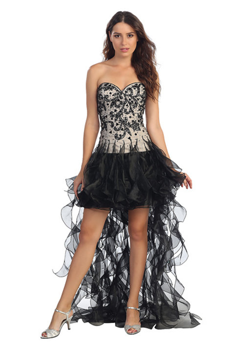 Sweetheart Lace Overlay Short Organza Ruffle Prom Dress