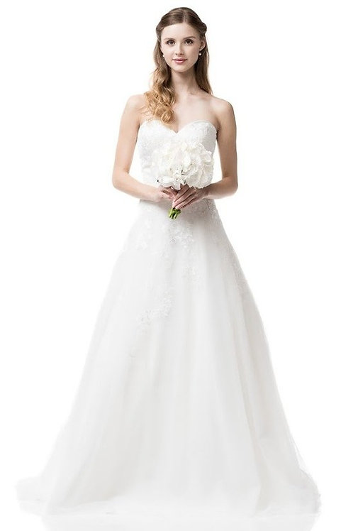 Strapless A-Line Sweetheart Lace Wedding Gown