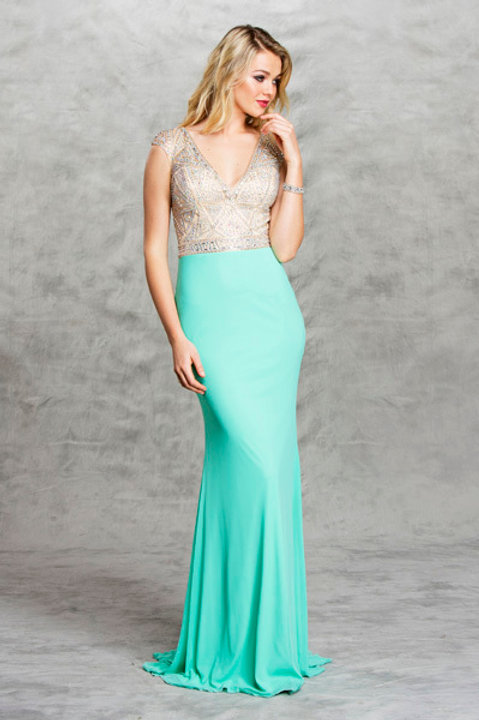 Cap Sleeve V-Neck Crystal Bodice Jersey Fitted Prom Dress