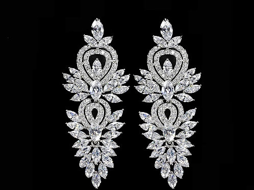 Gorgeous Cubic Diamond Bridal Sterling Jewelry Set
