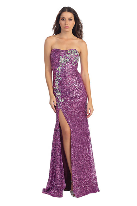 Strapless Sweetheart All Over Sequins Mermaid Prom Dress