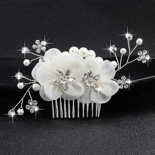 Pearl Rhinestone Flower Applique Bridal Hair Comb -2pc
