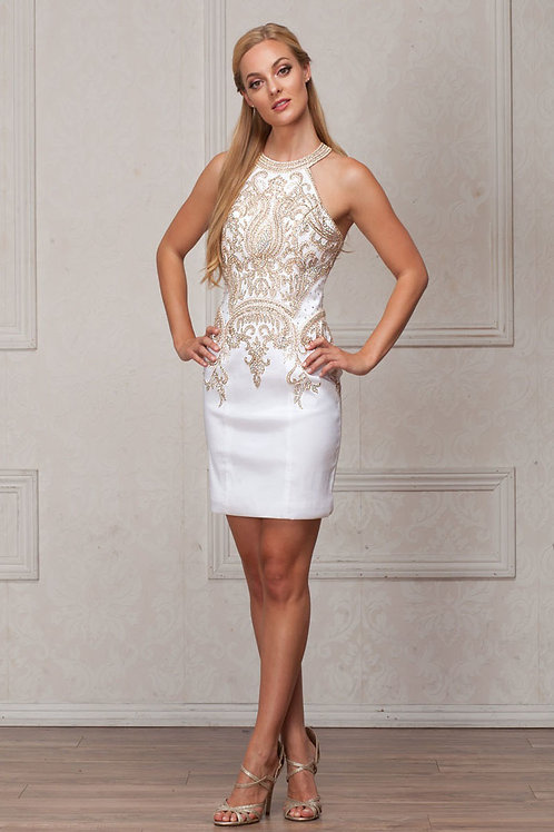 Sleeveless Halter Beaded Neckline Short Prom Dress