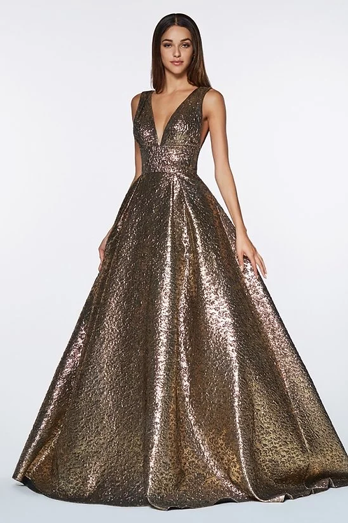 Deep V-Neck Band Wasted Full Ball Prom Dress