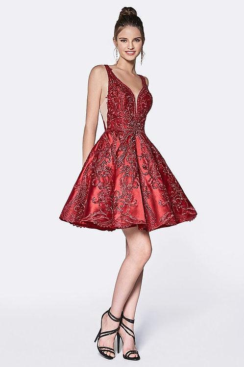 Vintage Embroidery Designed Flare Prom Dress