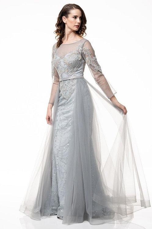 Sheer Elegant Illusion Lace Embellished Mother of the Bride Dress