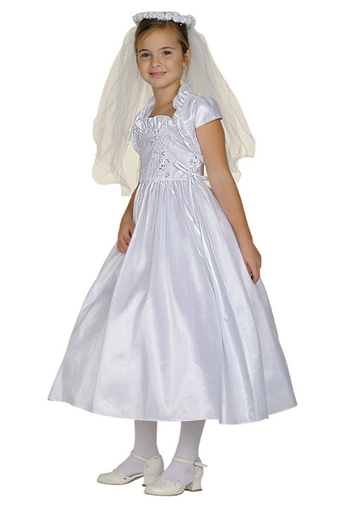 Ruffle Neckline w Rhinestone Bodice Communion Dress by Cinderella