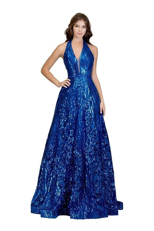 Halter Top Deep V-Neckline Floral Applique Embellished Prom Dress