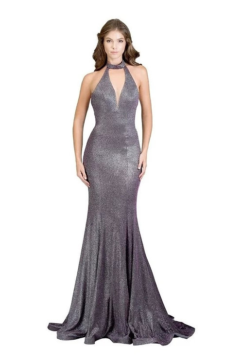 Halter Top Sheath Fitted Shimmer Mermaid Prom Dress