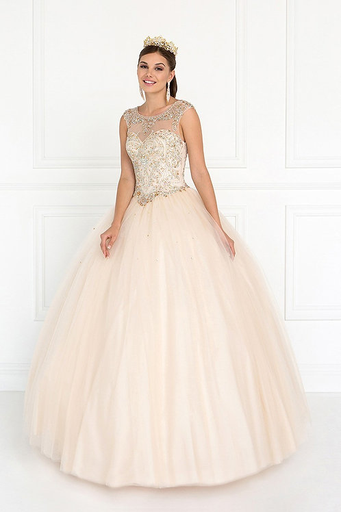 Illusion Crystal Beaded Sweetheart Quinceanera Gown
