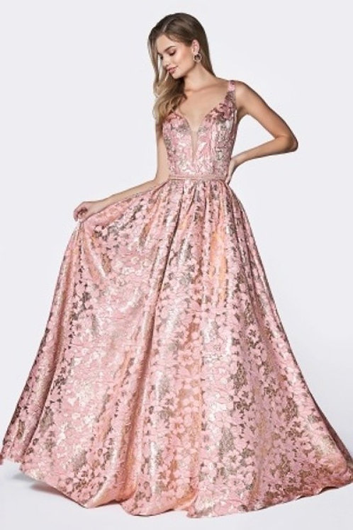All Over Shimmering Floral Print Prom Dress