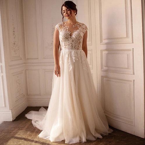 Romantic Applique Lace Vine Plus Size Ball Gown