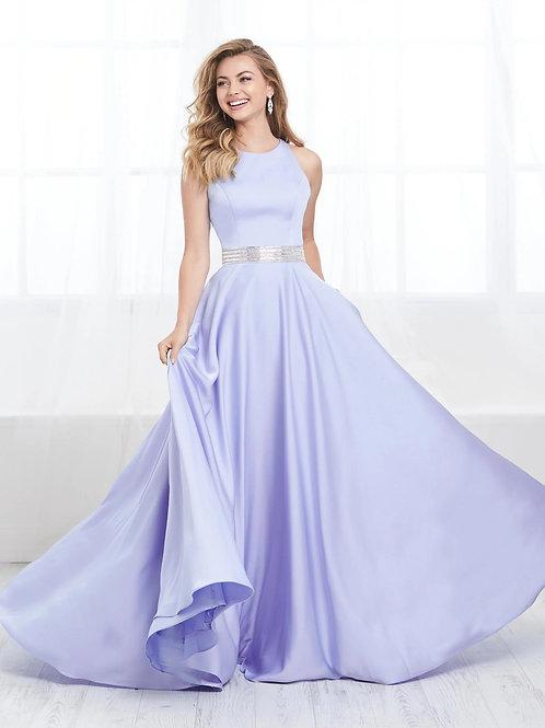 16414 Tiffany Design - Sleeveless Halter Satin A-Line Prom Dress