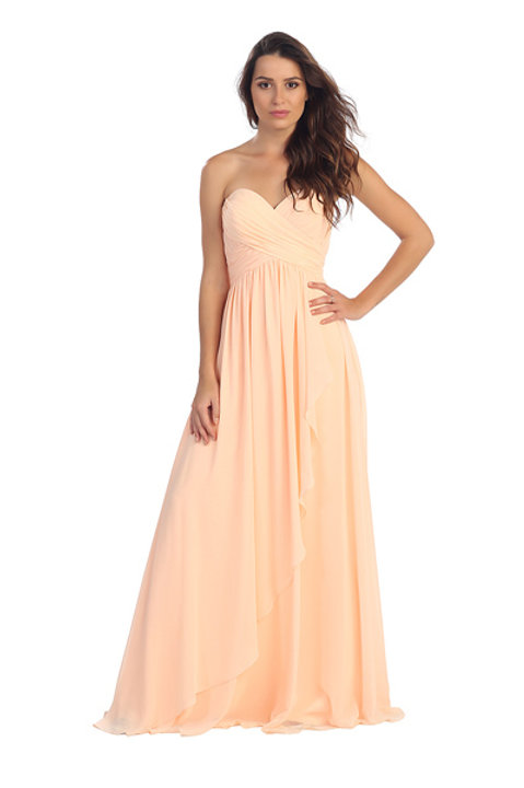 Strapless Sweetheart Ruched Pleated Long Chiffon Mermaid Bridesmaid Dress
