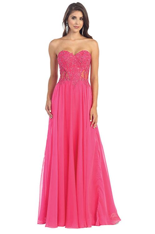Strapless Sweetheart Illusion Lace Bodice Chiffon Prom Dress