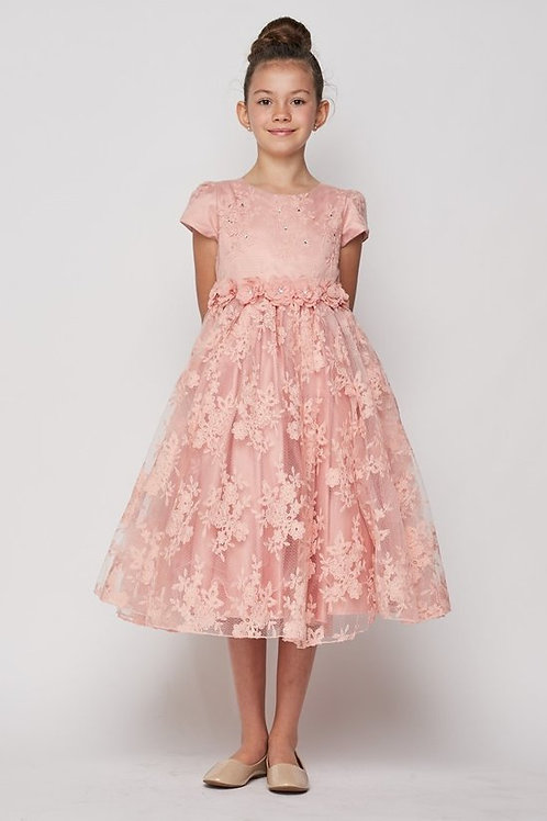 Cap Sleeve All Over Lace Flower Girls Dress by Cinderella