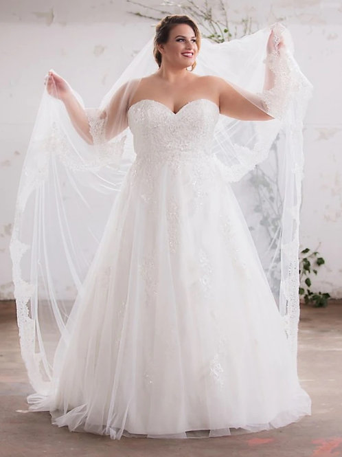 Strapless Lace Sweetheart A-Line Plus Size Gown