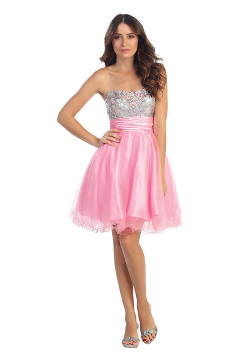 Sweetheart Neckline Shimmering Sequins Tulle Short Prom Dress