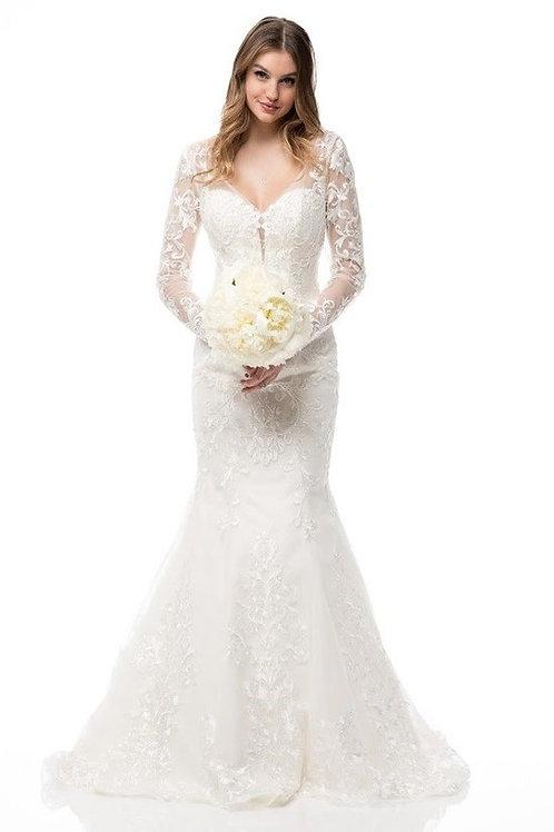 Long Sleeve Stunning Beaded Lace Mermaid Wedding Gown