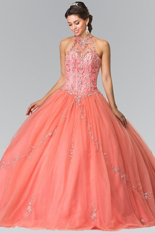 Halter Collar Crystal /illusion Quinceanera Gown