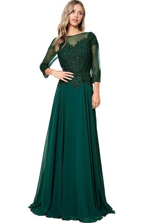 """Illusion Top3/4"""" Sleeve Sweetheart Mother of the Bride Dress"""