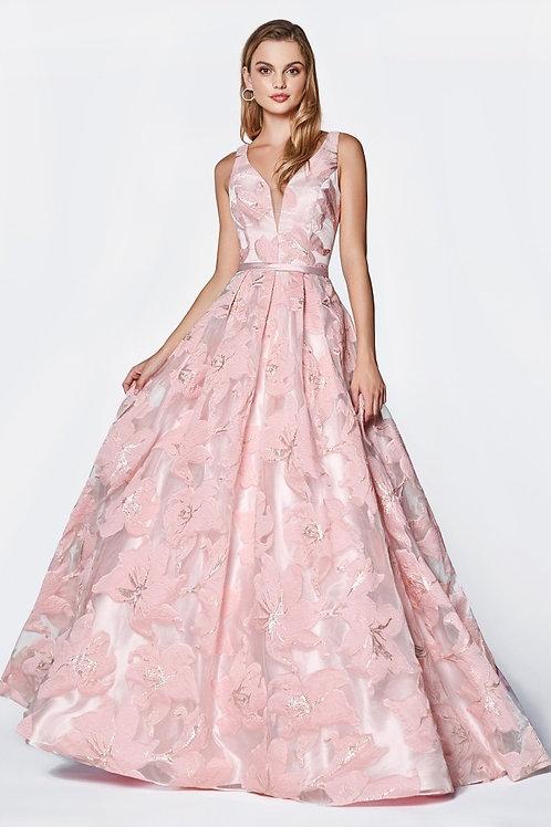 Floral Printed Long Jacquard Printed Fabric Prom Dress