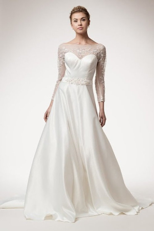 Illusion Floral Beaded Satin A-Line Wedding Gown