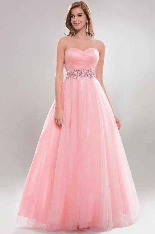 Sweetheart Ruched Bodice Sash Ball Evening Gown