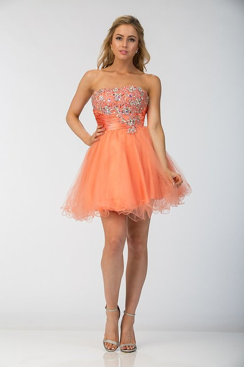 Rhinestone Embellished Sweetheart Short Mesh Prom Dress