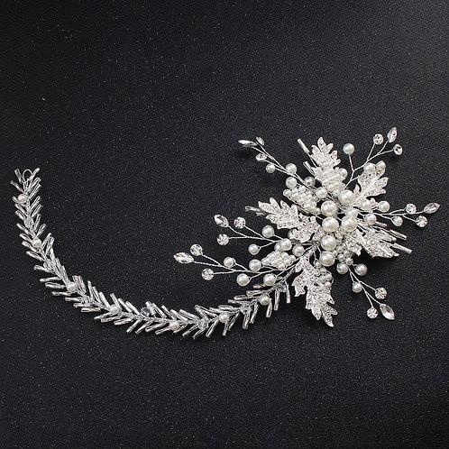 Wide Flower Pleated Pearl Rhinestone Headband