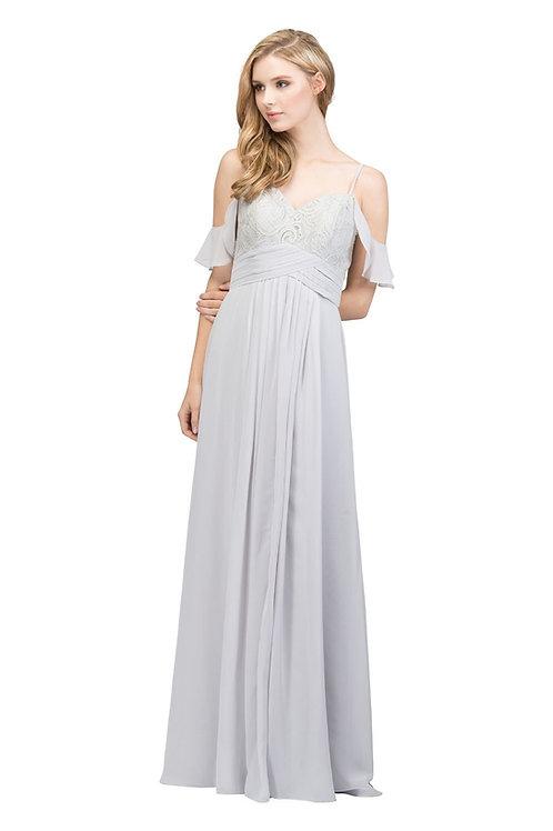 Off the Shoulder Airy Long Chiffon Bridesmaid Dress