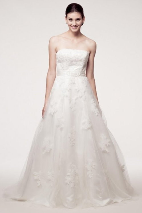 Straight Neckline All Over Lace Ball Wedding Gown